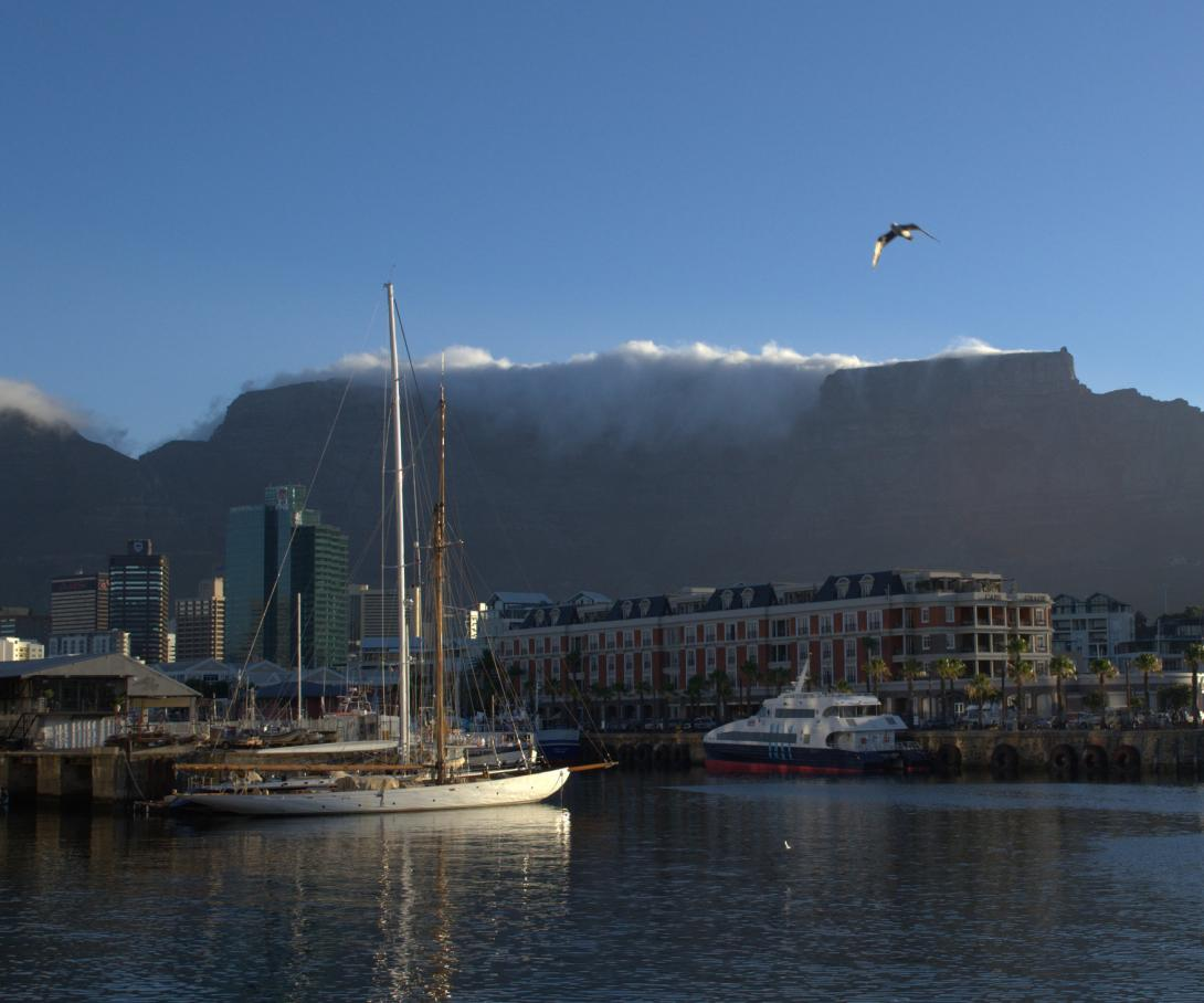 The wealthy area of the V&A Waterfront in Cape Town, popular with tourists.